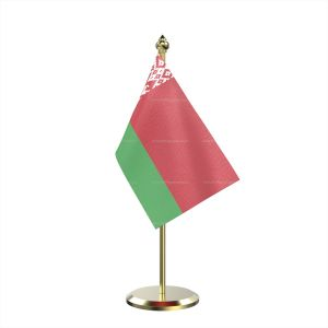Single Belarus Table Flag With Brass Base And Brass Pole