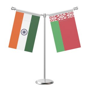 Y Shaped Belarus Table Flag with Stainless Steel Base and Pole