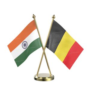 Belgium Table Flag With Brass Base And Brass Pole