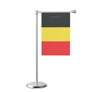 L Shape Table Belgium Table Flag With Stainless Steel Base And Pole