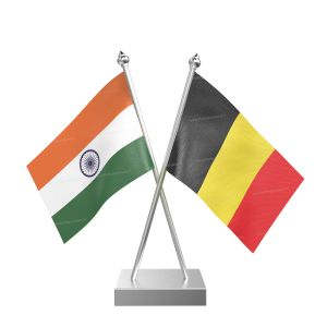 Belgium Table Flag With Stainless Steel Square Base And Pole