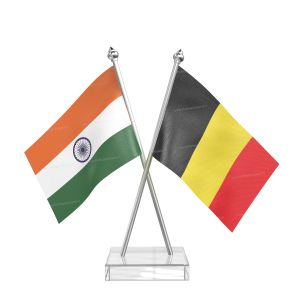 Belgium Table Flag With Stainless Steel pole and transparent acrylic base silver top