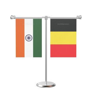 Belgium T shaped Table Flag with Stainless Steel Base and Pole