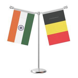 Y Shaped Belgium Table Flag with Stainless Steel Base and Pole