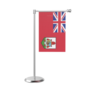 L Shape Table Bermuda Table Flag With Stainless Steel Base And Pole