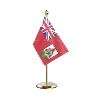 Single Bermuda Table Flag With Brass Base And Brass Pole