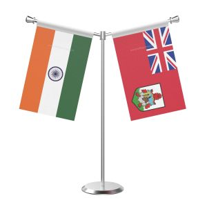 Y Shaped Bermuda Table Flag with Stainless Steel Base and Pole