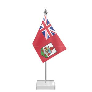 Bermuda Table Flag With Stainless Steel Pole And Transparent Acrylic Base Silver Top