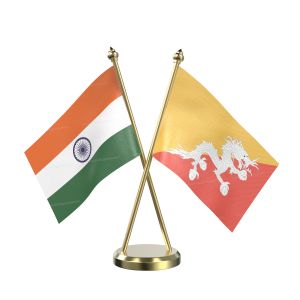 Bhutan Table Flag With Brass Base And Brass Pole