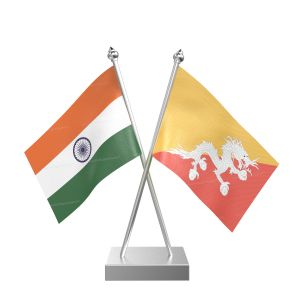 Bhutan Table Flag With Stainless Steel Square Base And Pole