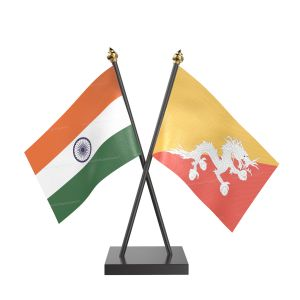 Bhutan Table Flag With Black Acrylic Base And Gold Top