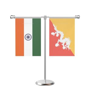 Bhutan T shaped Table Flag with Stainless Steel Base and Pole