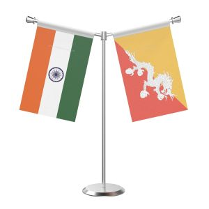 Y Shaped Bhutan Table Flag with Stainless Steel Base and Pole