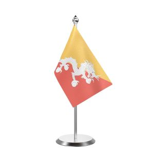 """Single Bhutan Table Flag with Stainless Steel Base and Pole with 15"""" pole"""
