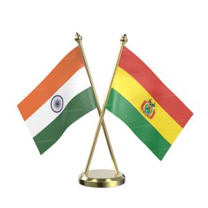 Bolivia Table Flag With Brass Base And Brass Pole