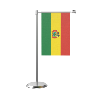 L Shape Table Bolivia Table Flag With Stainless Steel Base And Pole