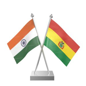 Bolivia Table Flag With Stainless Steel Square Base And Pole