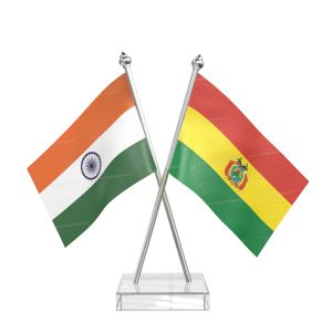 Bolivia Table Flag With Stainless Steel pole and transparent acrylic base silver top