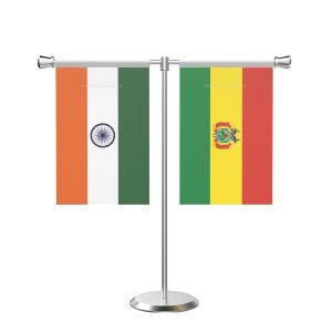 Bolivia T shaped Table Flag with Stainless Steel Base and Pole