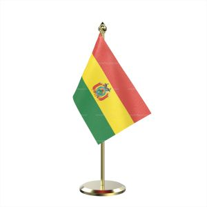 Single Bolivia Table Flag With Brass Base And Brass Pole