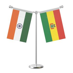 Y Shaped Bolivia Table Flag with Stainless Steel Base and Pole