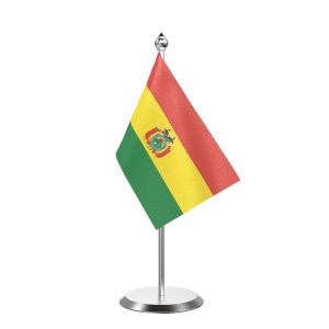 """Single Bolivia Table Flag with Stainless Steel Base and Pole with 15"""" pole"""