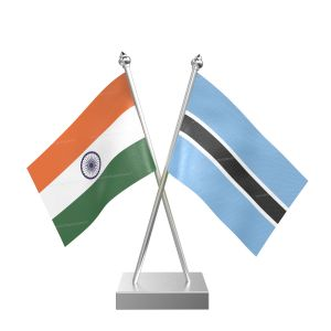 Botswana Table Flag With Stainless Steel Square Base And Pole