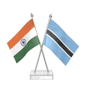 Botswana Table Flag With Stainless Steel pole and transparent acrylic base silver top