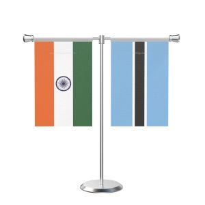 Botswana T shaped Table Flag with Stainless Steel Base and Pole
