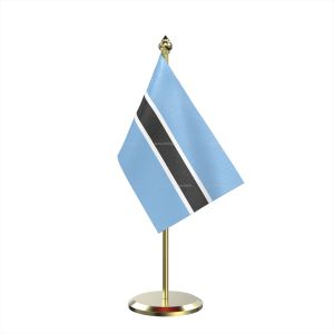 Single Botswana Table Flag With Brass Base And Brass Pole