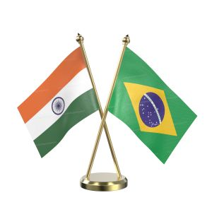 Brazil Table Flag With Brass Base And Brass Pole