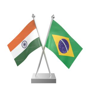 Brazil Table Flag With Stainless Steel Square Base And Pole