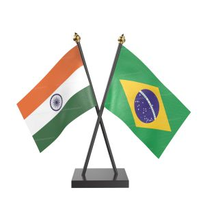 Brazil Table Flag With Black Acrylic Base And Gold Top