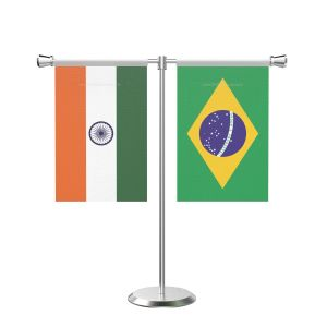 Brazil T shaped Table Flag with Stainless Steel Base and Pole