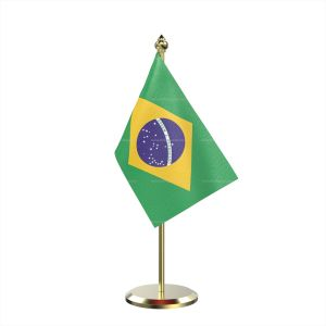 Single Brazil Table Flag With Brass Base And Brass Pole