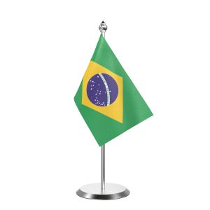 """Single Brazil Table Flag with Stainless Steel Base and Pole with 15"""" pole"""