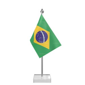 Brazil Table Flag With Stainless Steel Pole And Transparent Acrylic Base Silver Top