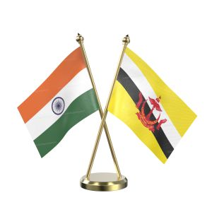 Brunei Darussalam Table Flag With Brass Base And Brass Pole