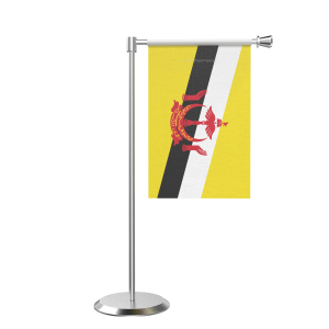L Shape Table Brunei Darussalam Table Flag With Stainless Steel Base And Pole