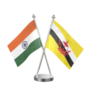 Brunei Darussalam Table Flag With Stainless Steel Base And Pole