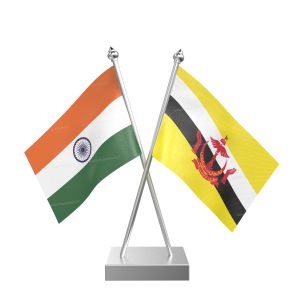 Brunei Darussalam Table Flag With Stainless Steel Square Base And Pole