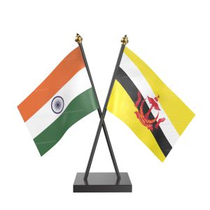 Brunei Darussalam Table Flag With Black Acrylic Base And Gold Top