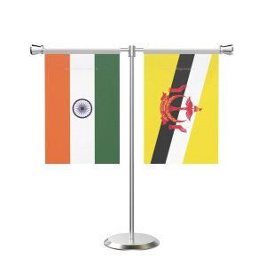 Brunei Darussalam T shaped Table Flag with Stainless Steel Base and Pole