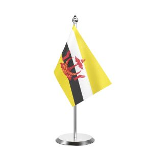"""Single Brunei Darussalam Table Flag with Stainless Steel Base and Pole with 15"""" pole"""