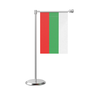 L Shape Table Bulgaria Table Flag With Stainless Steel Base And Pole