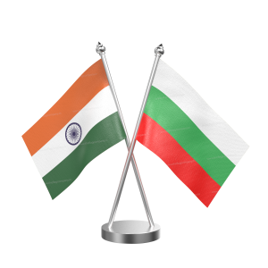 Bulgaria Table Flag With Stainless Steel Base And Pole
