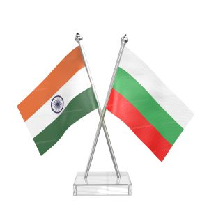 Bulgaria Table Flag With Stainless Steel pole and transparent acrylic base silver top