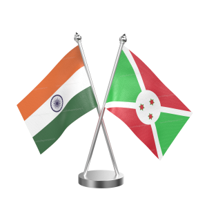 Burundi Table Flag With Stainless Steel Base And Pole