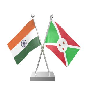 Burundi Table Flag With Stainless Steel Square Base And Pole