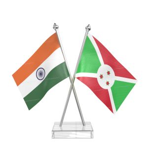 Burundi Table Flag With Stainless Steel pole and transparent acrylic base silver top